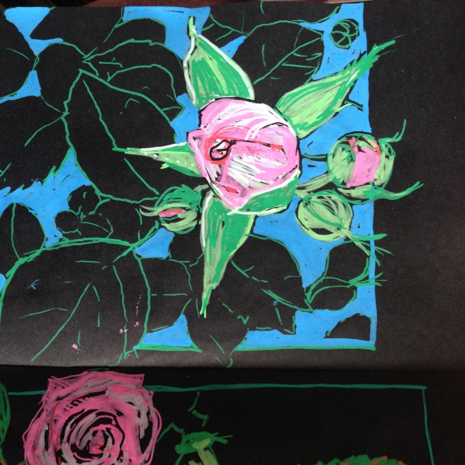 magic sketchbook.flowerDrawing on black paper. art