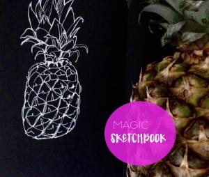 magic sketchbook.flowerDrawing on black paper