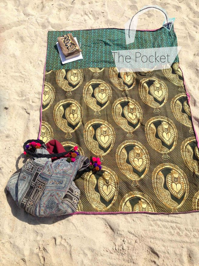DIY beach towel with hidden pocket