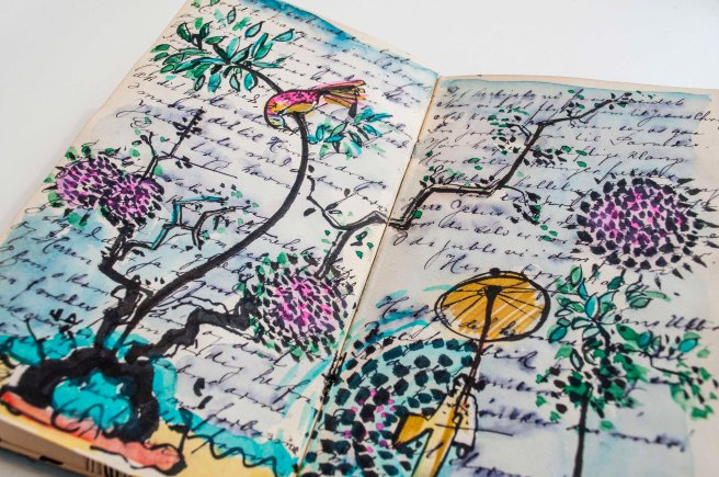 Art Journal, Flowers , vacation, draw your dreams, drawing classes.