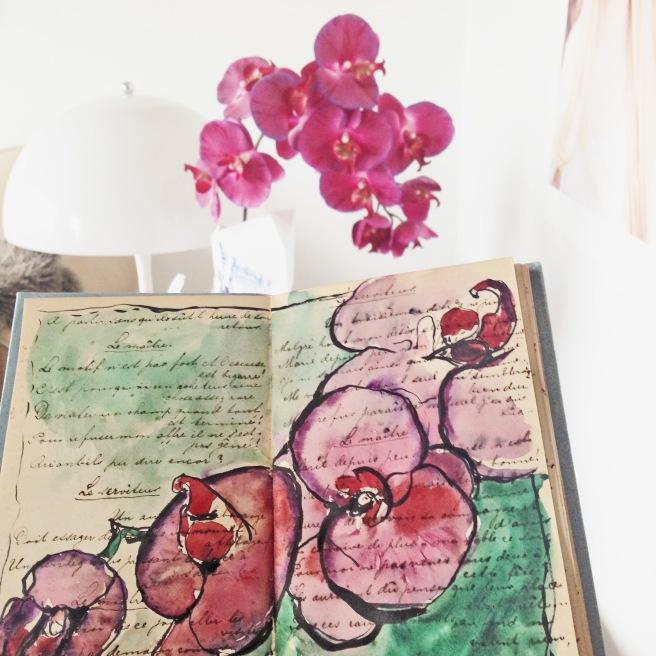 Art Journal , drawing, flower